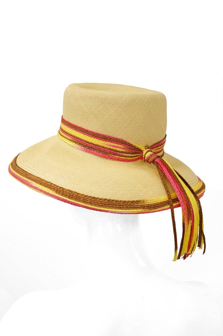 White Yves Saint Laurent Colorful Tassel Sun Hat, S 1970s  For Sale