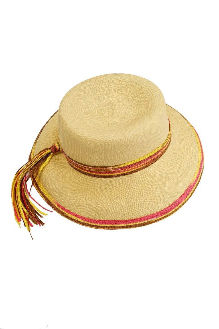Yves Saint Laurent Colorful Tassel Sun Hat, S 1970s  For Sale 1