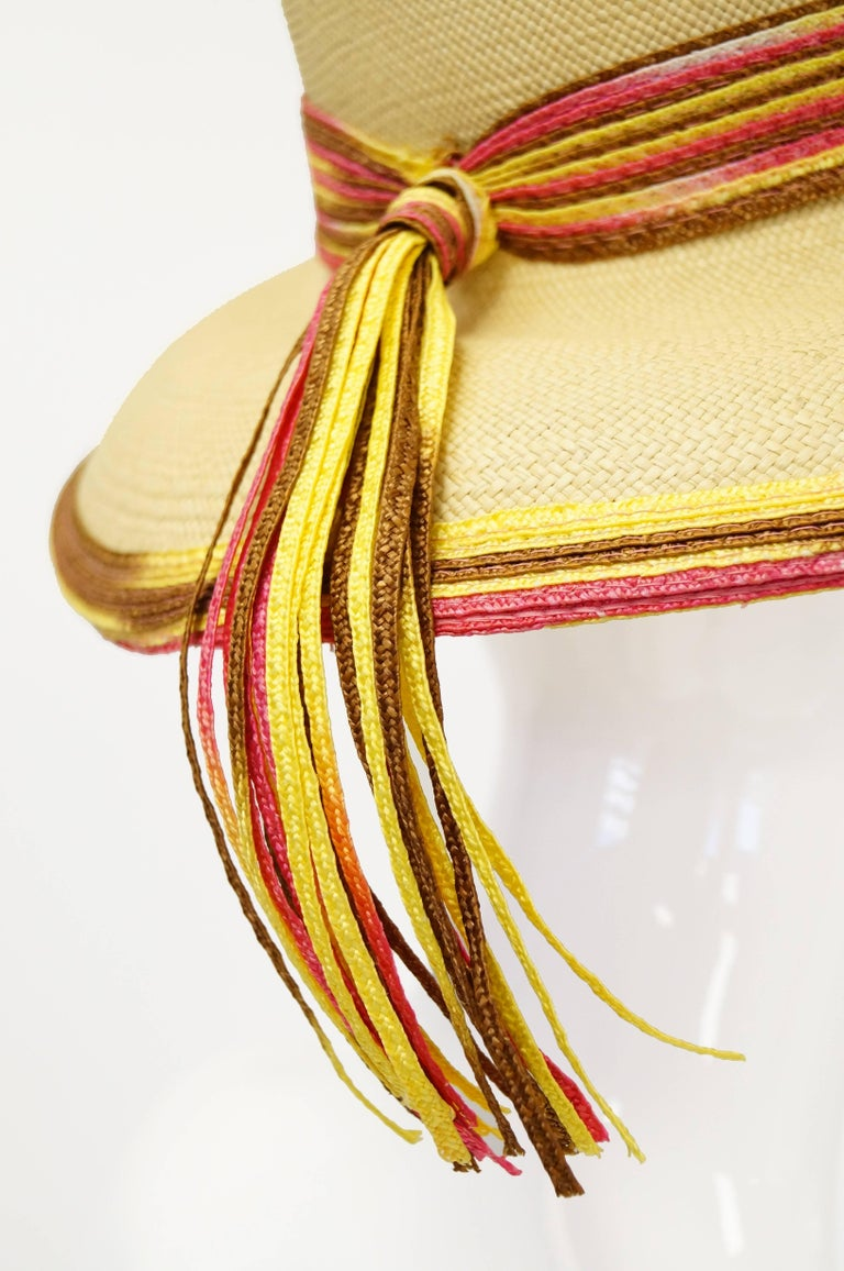 Women's Yves Saint Laurent Colorful Tassel Sun Hat, S 1970s  For Sale