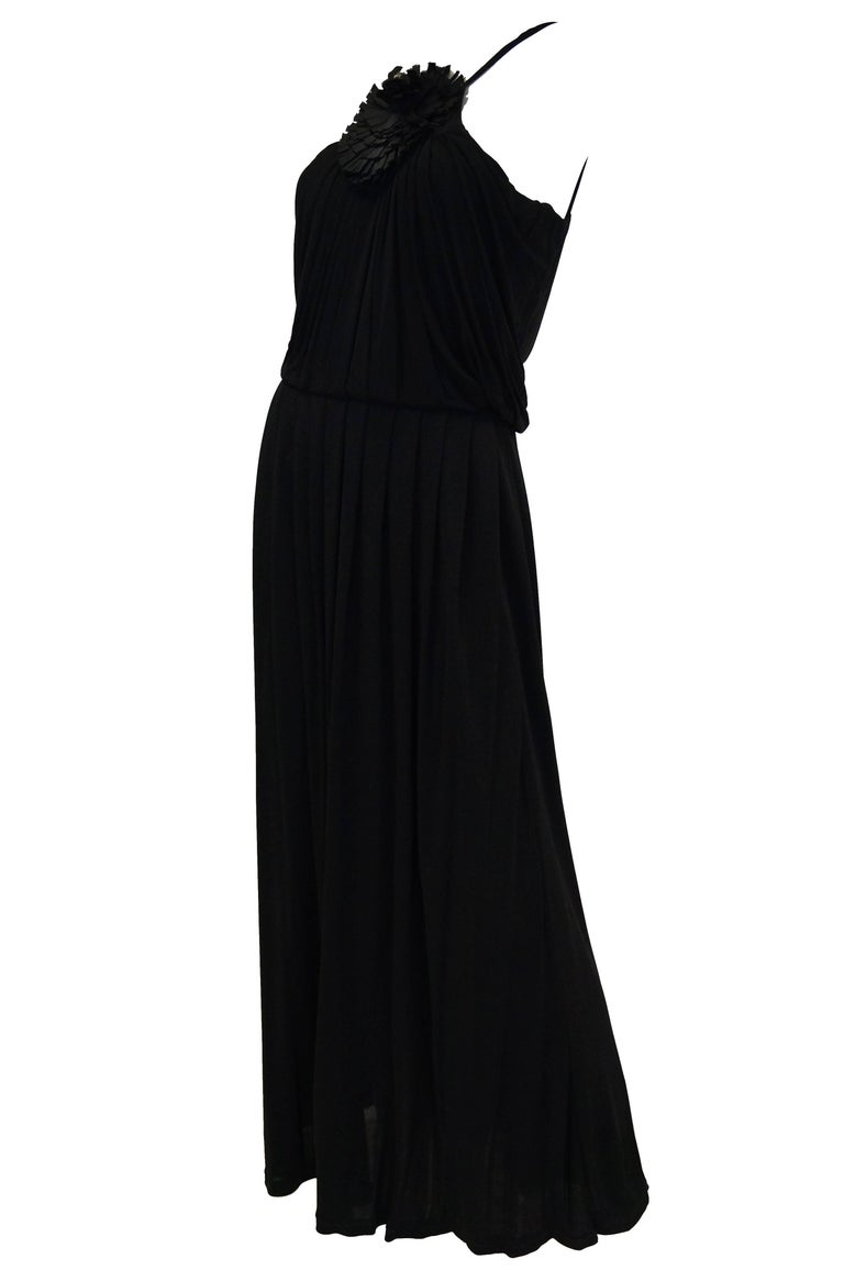2003 Fendi Black Drape Jersey Knit Maxi Dress In Excellent Condition For Sale In Houston, TX