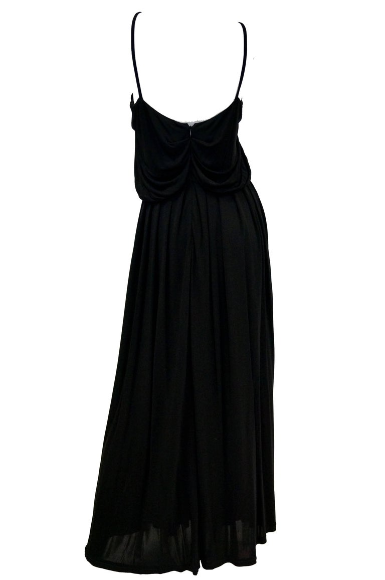 2003 Fendi Black Drape Jersey Knit Maxi Dress For Sale 1