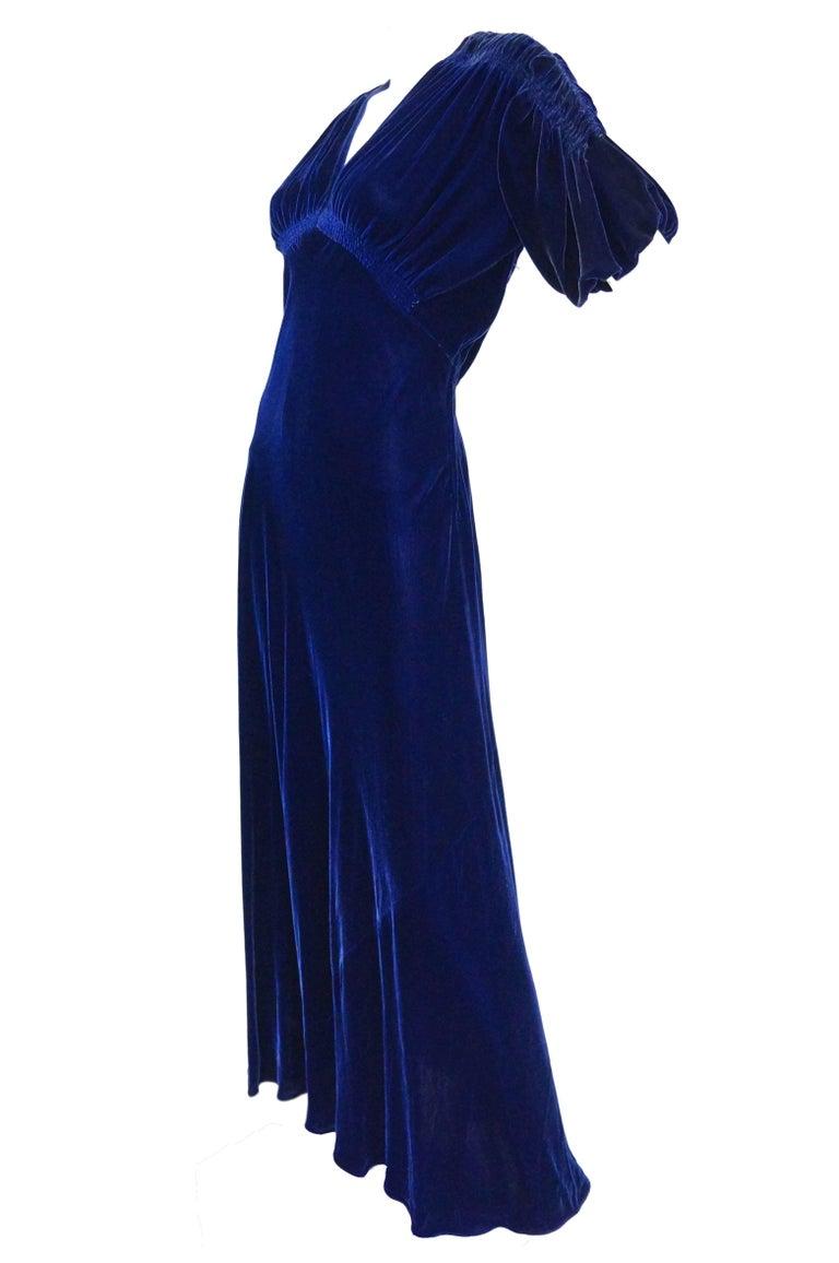 Black 1930s Bias Cut Deep Cobalt Velvet Evening Dress For Sale