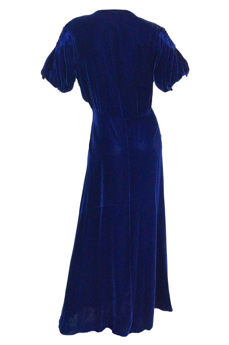 Women's 1930s Bias Cut Deep Cobalt Velvet Evening Dress For Sale