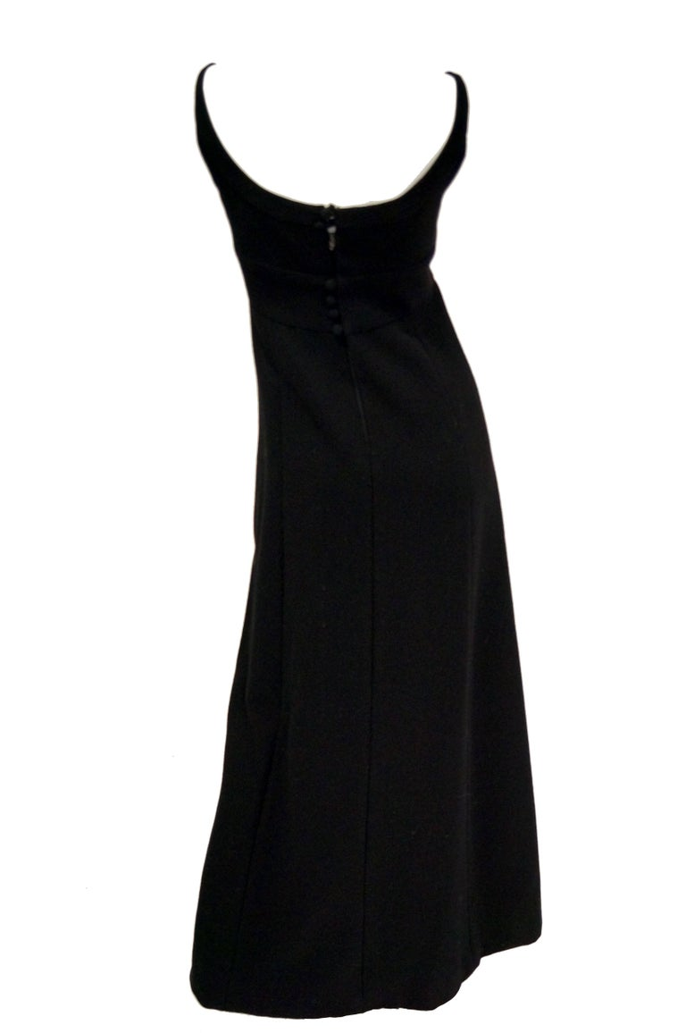 1960s Donald Brooks Black Wool Evening Dress For Sale 1