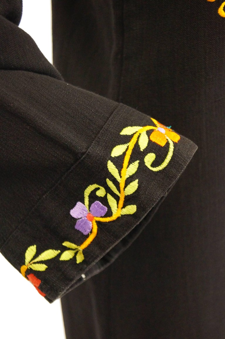Black 1960s Ramona Rull Peacock Embroidered Caftan For Sale