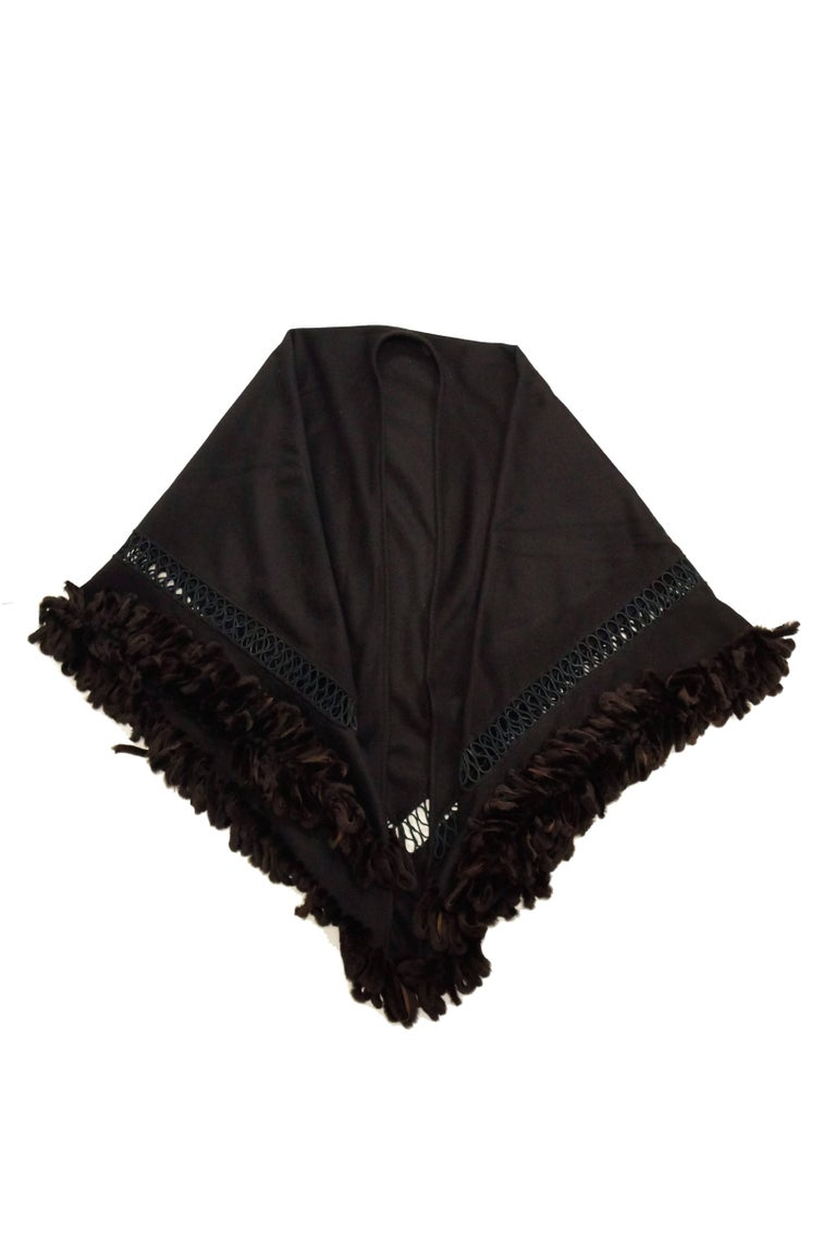 Fabulous Adrienne Landau Black Wool and Fox Fur Shawl For Sale 3