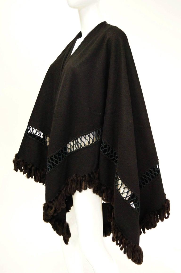 Fabulous Adrienne Landau Black Wool and Fox Fur Shawl For Sale 1