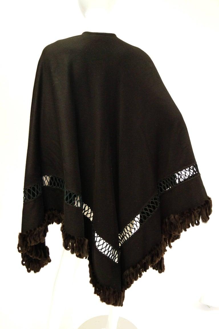 Fabulous Adrienne Landau Black Wool and Fox Fur Shawl For Sale 2