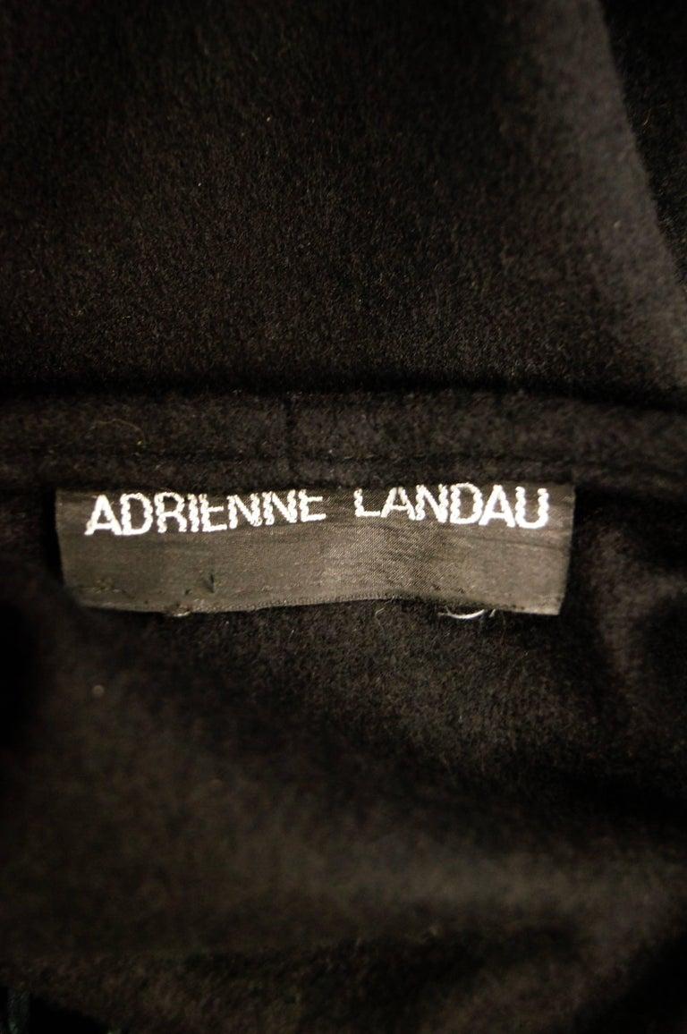 Fabulous Adrienne Landau Black Wool and Fox Fur Shawl For Sale 4