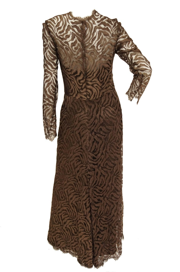 1980s Stanley Platos Martin Ross Floor Length Umber Lace Evening Dress In Excellent Condition For Sale In Houston, TX