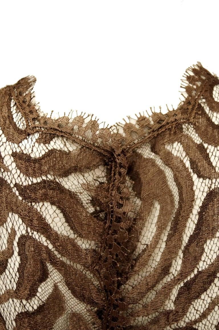 Women's 1980s Stanley Platos Martin Ross Floor Length Umber Lace Evening Dress For Sale