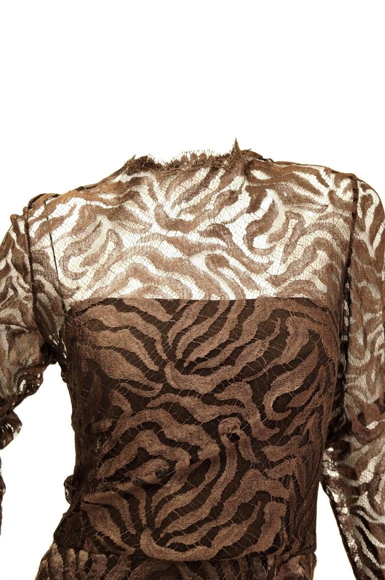 Black 1980s Stanley Platos Martin Ross Floor Length Umber Lace Evening Dress For Sale