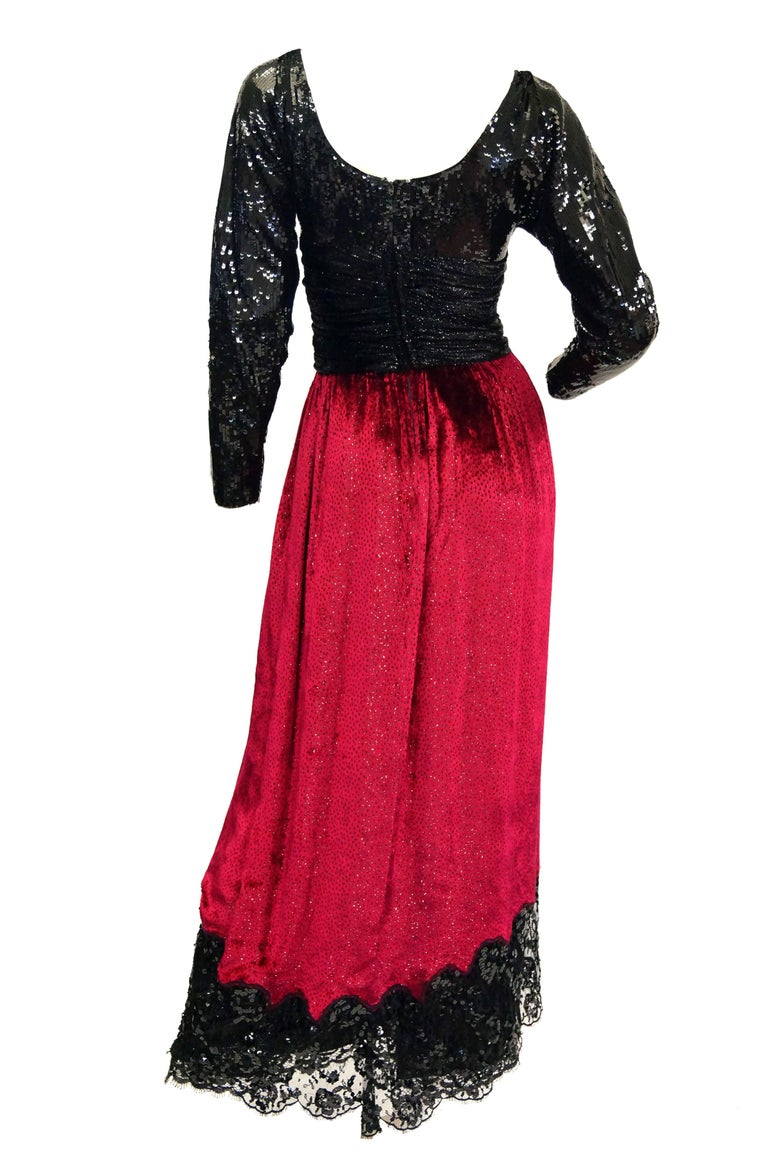 1980s Geoffrey Beene Black and Red Sequin, Lace, and Velvet Evening Dress 2 For Sale 2