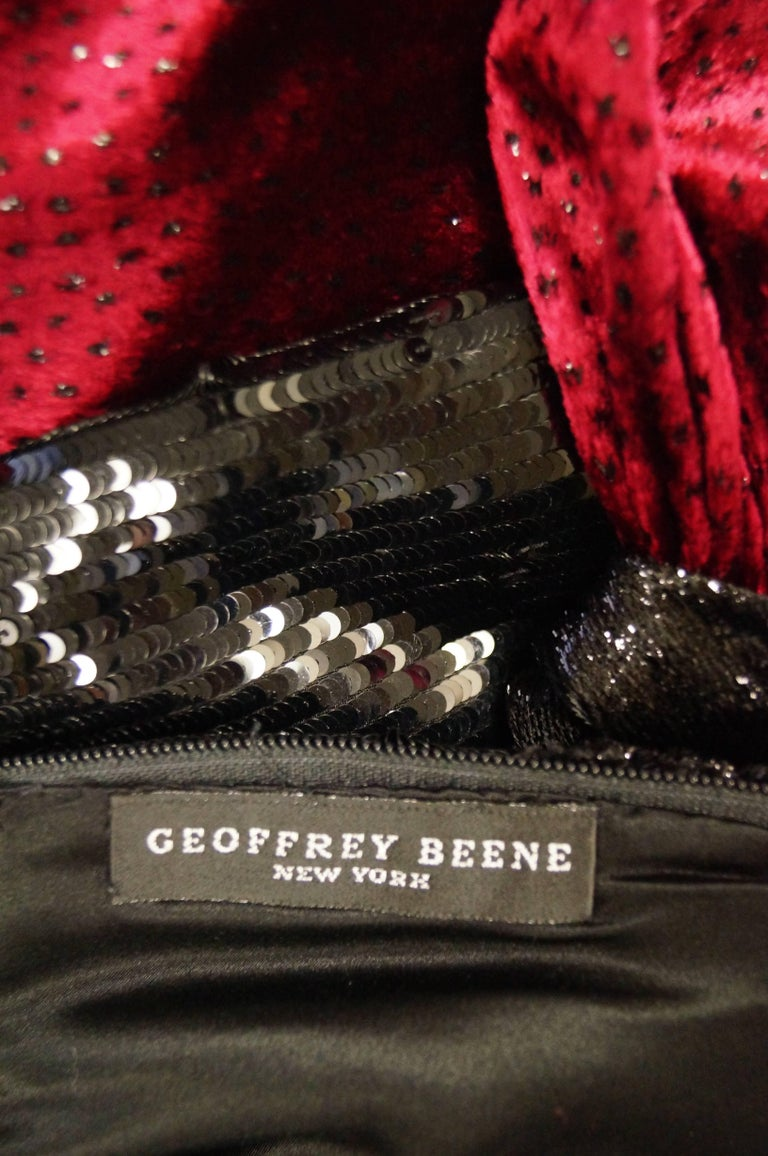 1980s Geoffrey Beene Black and Red Sequin, Lace, and Velvet Evening Dress 2 For Sale 3