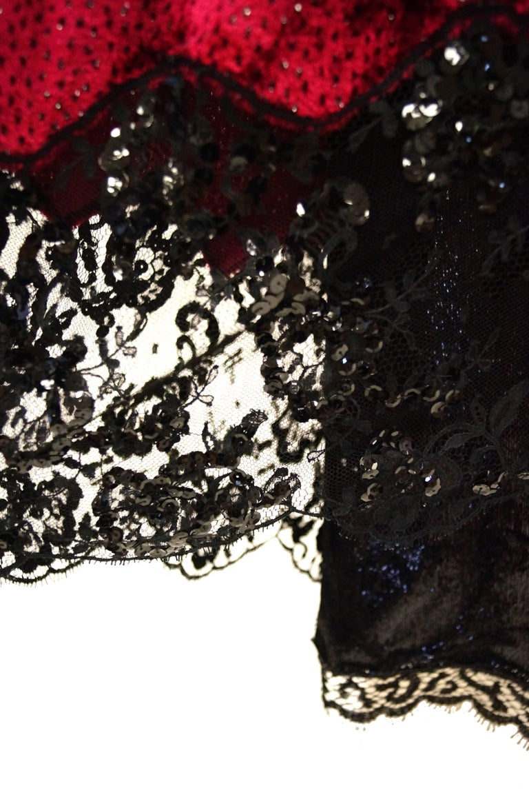 1980s Geoffrey Beene Black and Red Sequin, Lace, and Velvet Evening Dress 2 For Sale 1