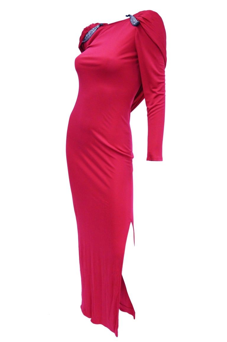 1984 Valentino Pink Silk Plunge Back Evening Dress w/ Cape and Beading Detail For Sale 1