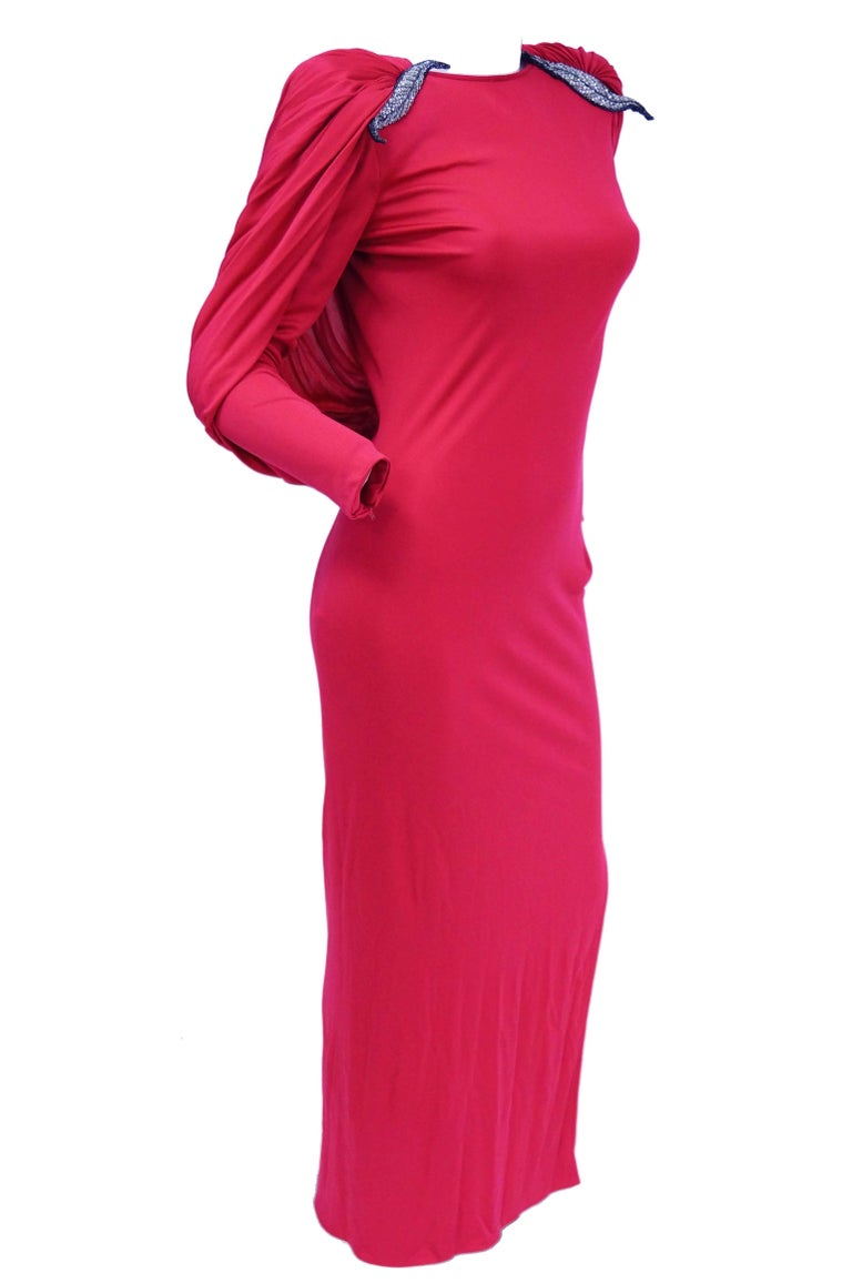 1984 Valentino Pink Silk Plunge Back Evening Dress w/ Cape and Beading Detail For Sale 3