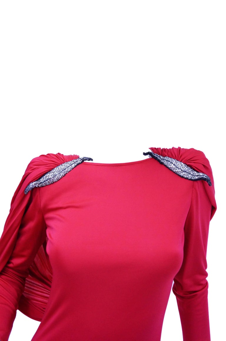 Women's 1984 Valentino Pink Silk Plunge Back Evening Dress w/ Cape and Beading Detail For Sale