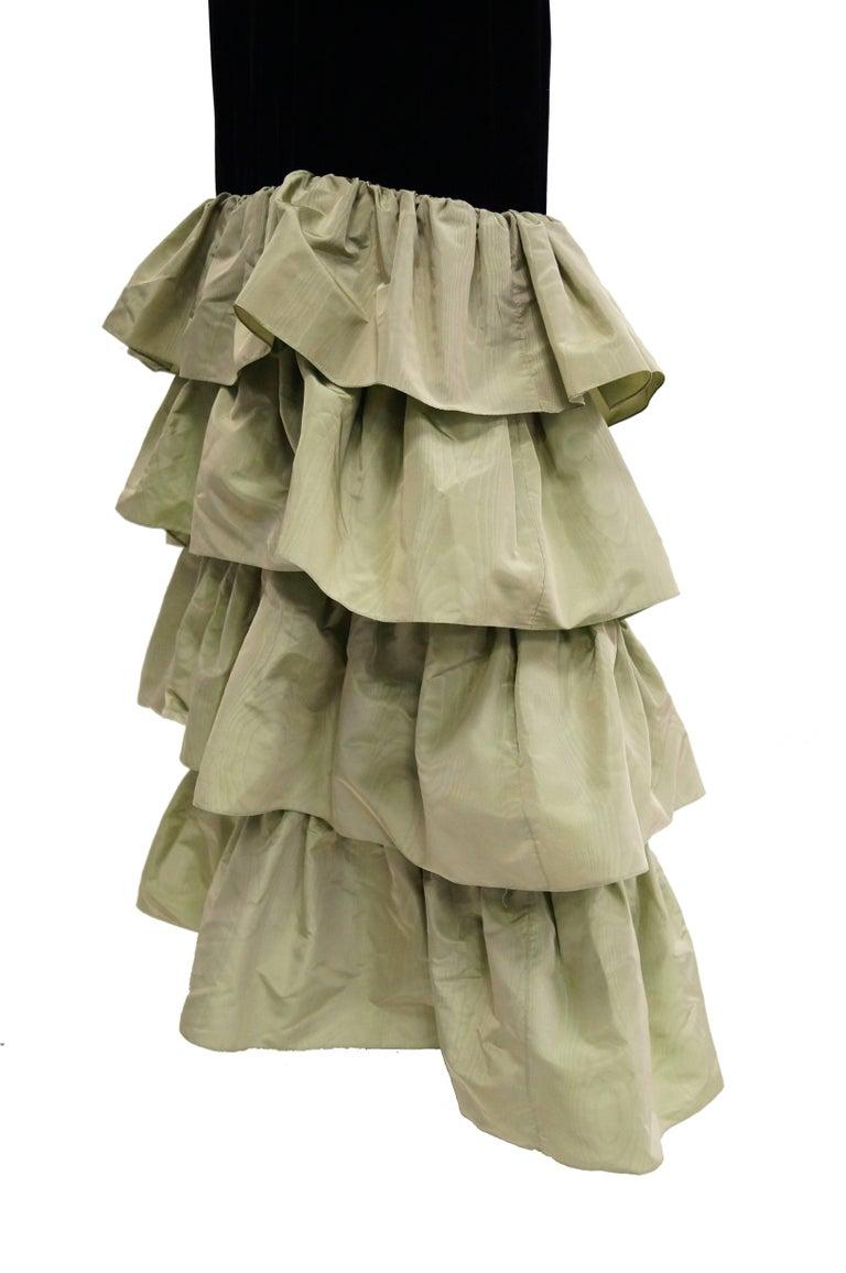 Givenchy Black Velvet and Green Taffeta Silk Bow Evening Dress, 1980s  For Sale 1