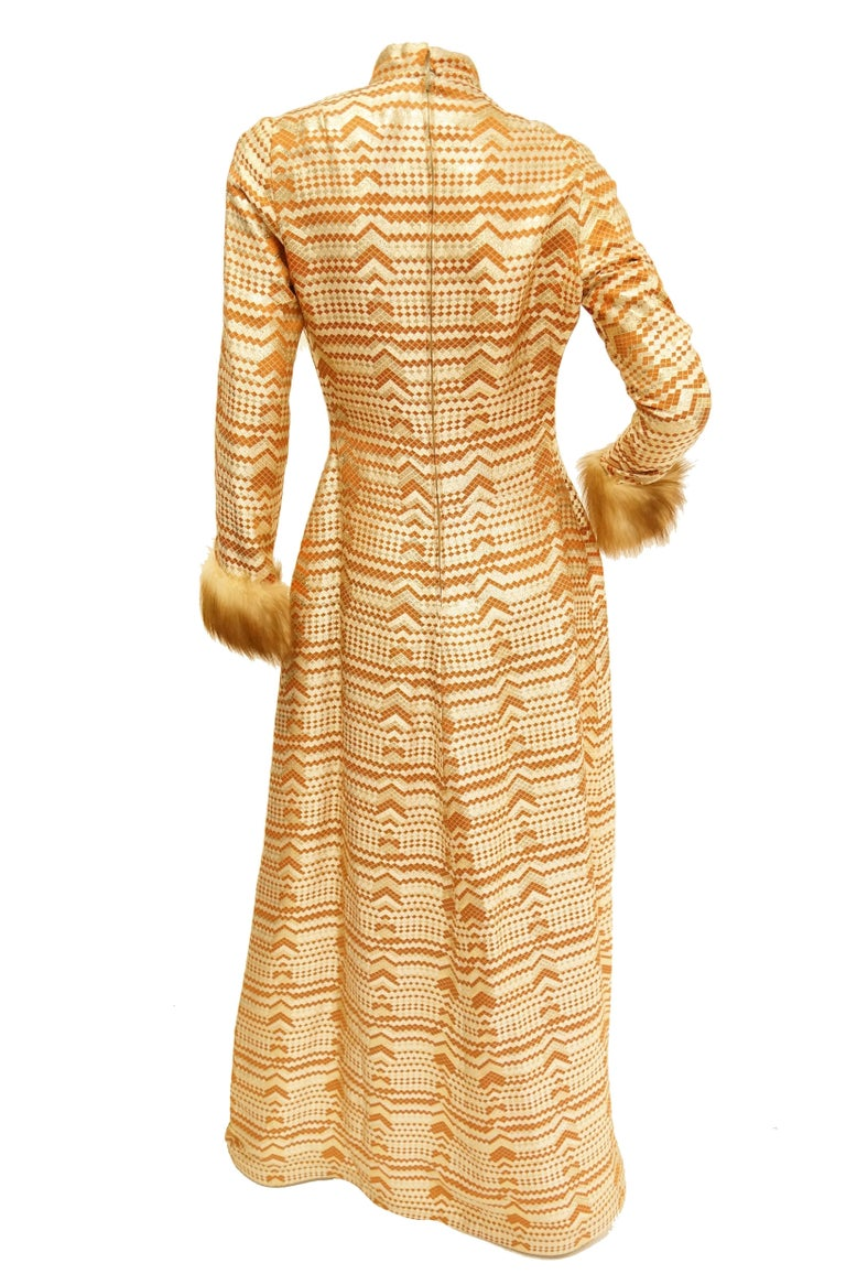 Oscar de la Renta Couture Gold Evening Dress with Fur Cuffs, 1970s  For Sale 1
