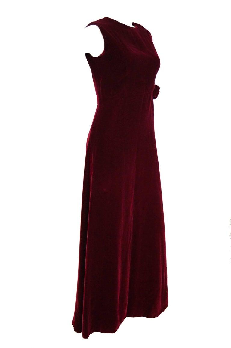 Women's 1960s Sarmi Red Velvet Evening Dress w/ Sheer White Silk Skirt Accent For Sale
