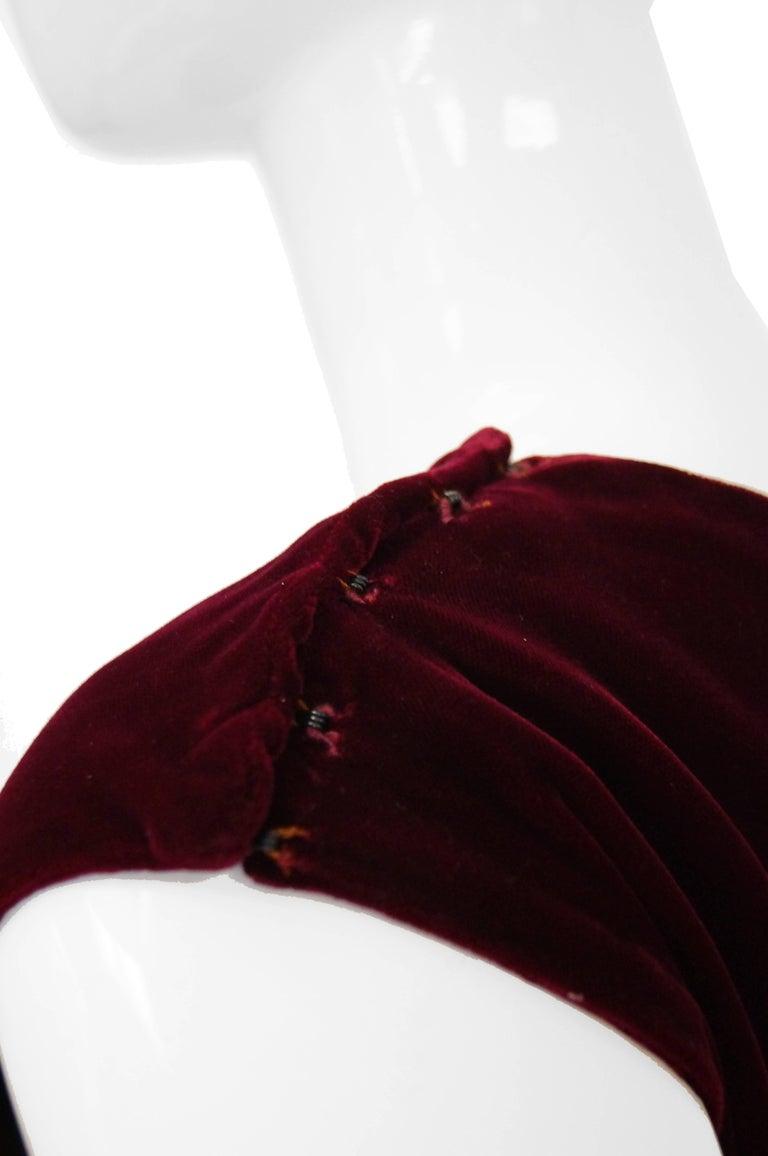 1960s Sarmi Red Velvet Evening Dress w/ Sheer White Silk Skirt Accent For Sale 2