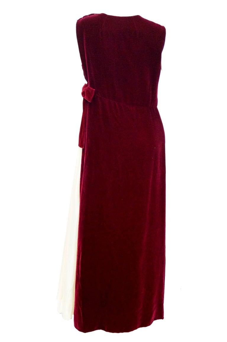 1960s Sarmi Red Velvet Evening Dress w/ Sheer White Silk Skirt Accent For Sale 1
