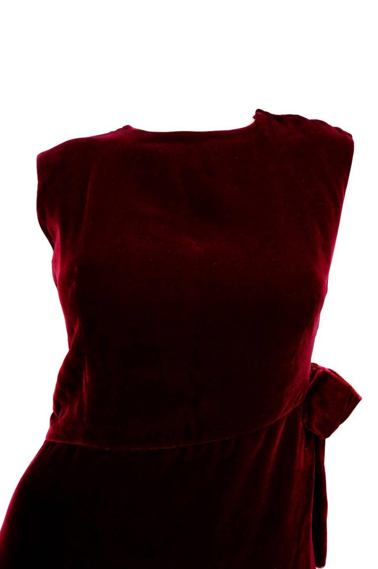 Black 1960s Sarmi Red Velvet Evening Dress w/ Sheer White Silk Skirt Accent For Sale