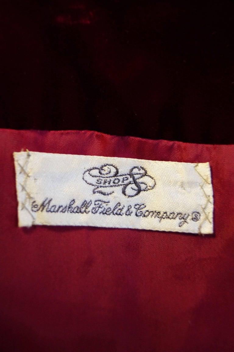 1960s Sarmi Red Velvet Evening Dress w/ Sheer White Silk Skirt Accent For Sale 4