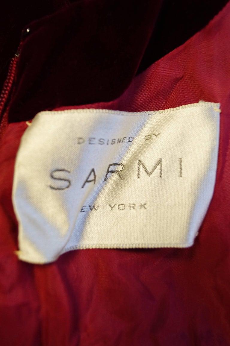 1960s Sarmi Red Velvet Evening Dress w/ Sheer White Silk Skirt Accent For Sale 3