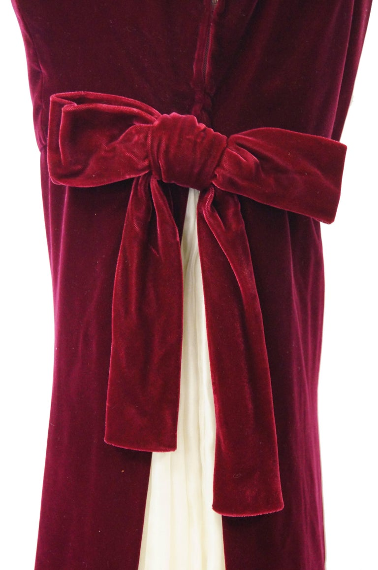 1960s Sarmi Red Velvet Evening Dress w/ Sheer White Silk Skirt Accent In Excellent Condition For Sale In Houston, TX