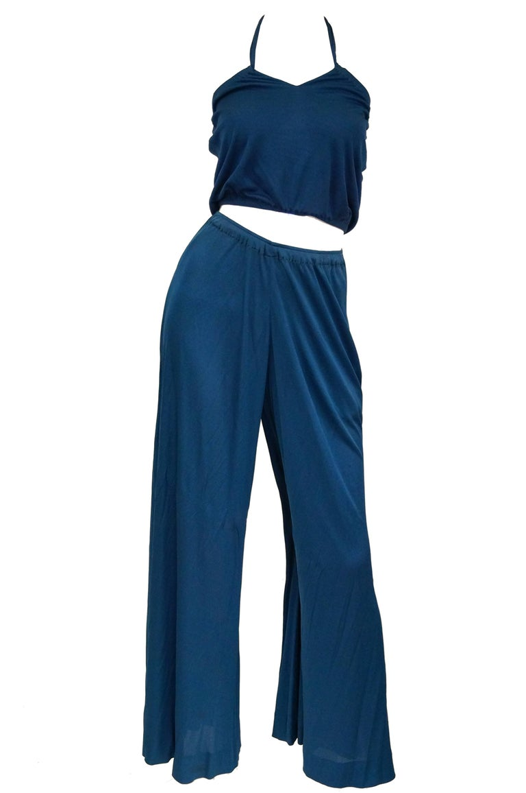 Holly's Harp Deep Blue Crop Halter and Wide Leg Pants  Stretchy knit, optional keyhole neckline