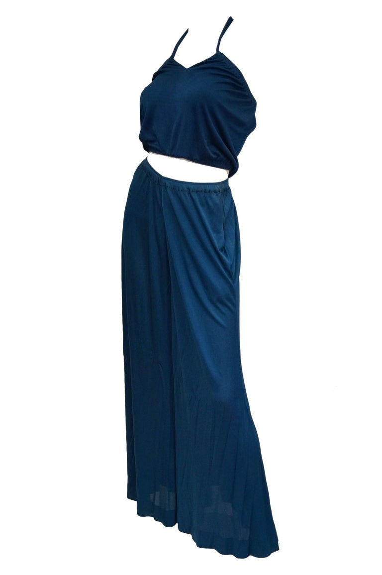 Holly's Harp Royal Blue Stretch Knit Ensemble, 1970s   For Sale 1