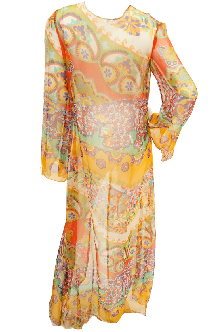 1970s sheer polychrome psychedelic floral boho caftan  tunic   cover up at 1stdibs