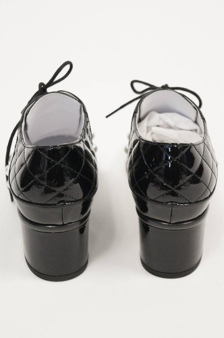 Women's Chanel Black and White Patent Leather Pearl Oxfords, 2014  For Sale