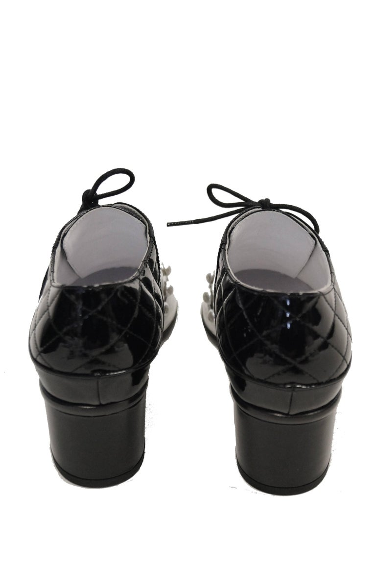 Chanel Black and White Patent Leather Pearl Oxfords, 2014  For Sale 3