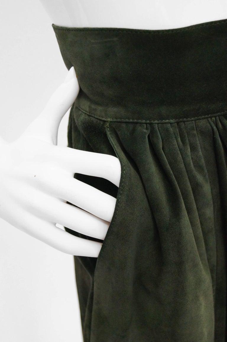 Women's Mario Valentino Pine Green Italian Suede Skirt, 1970s  For Sale