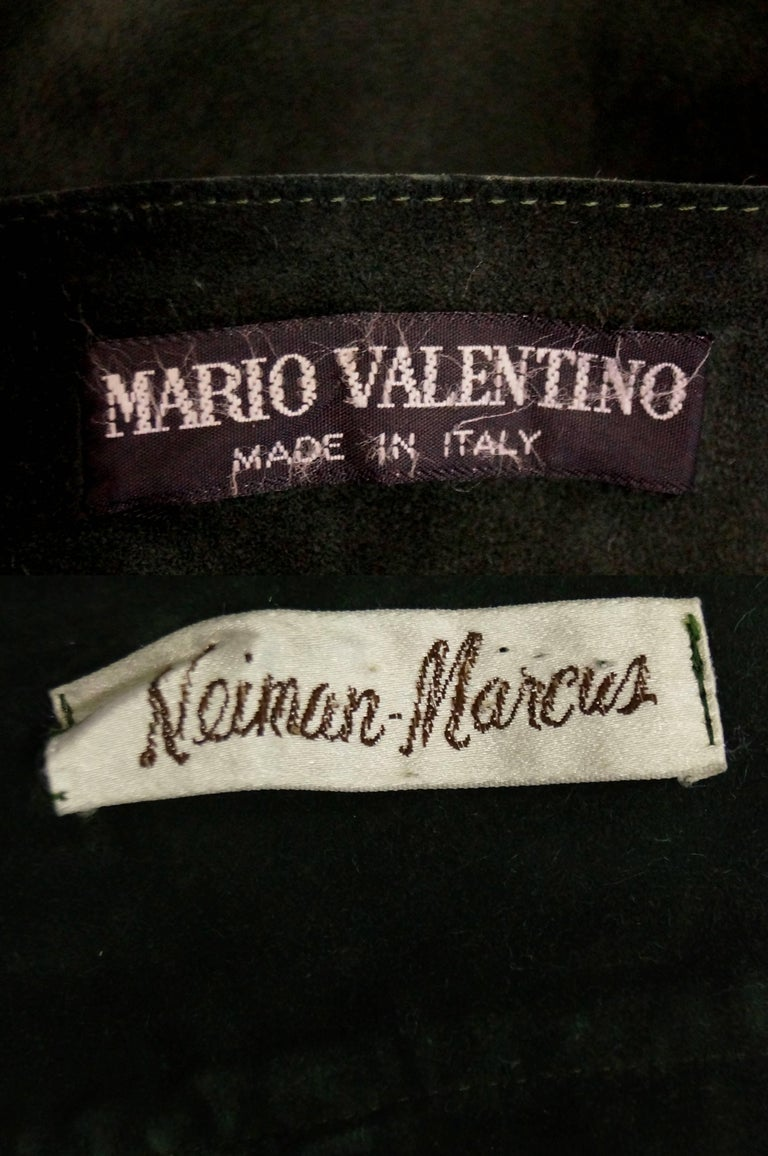 Mario Valentino Pine Green Italian Suede Skirt, 1970s  For Sale 3