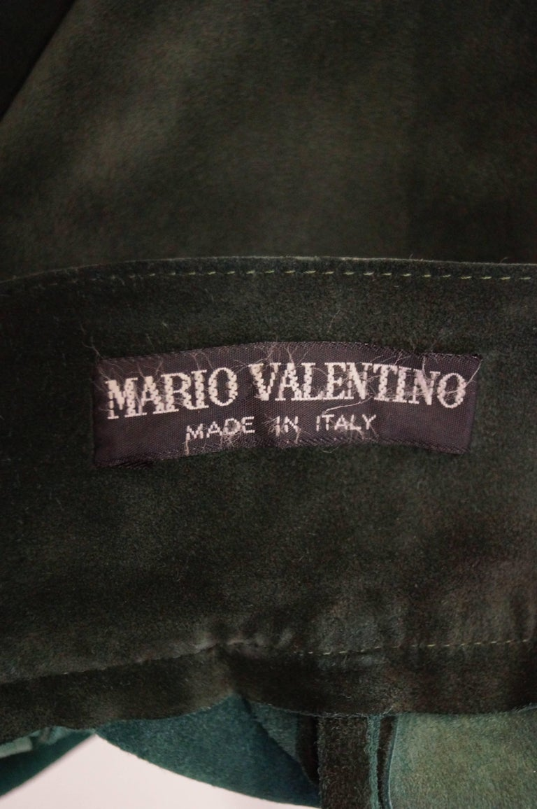Mario Valentino Pine Green Italian Suede Skirt, 1970s  For Sale 2