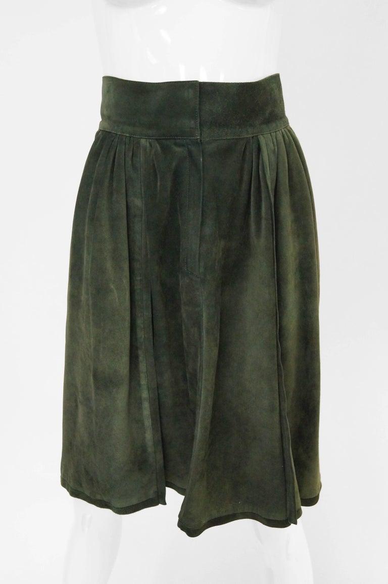 Black Mario Valentino Pine Green Italian Suede Skirt, 1970s  For Sale