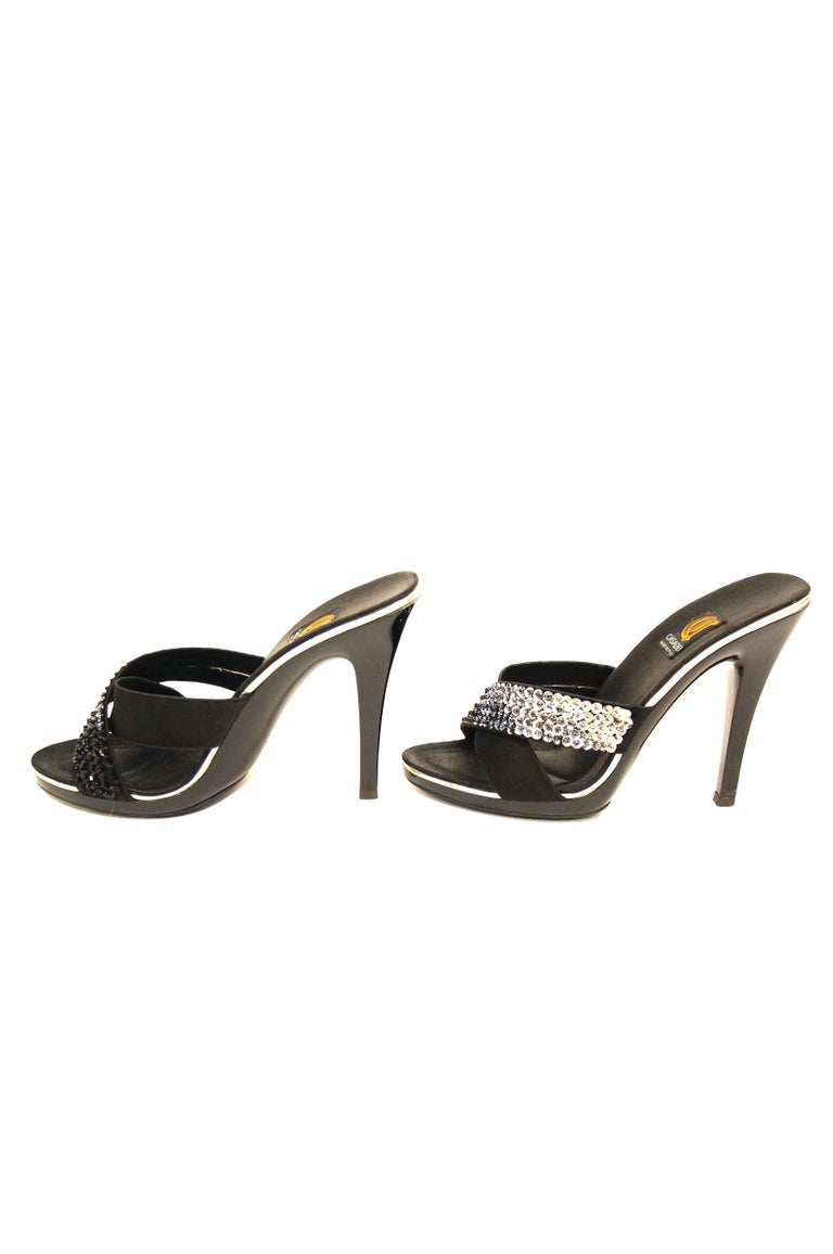 Women's Casadei Black Satin and Sequin Strappy Sandals For Sale