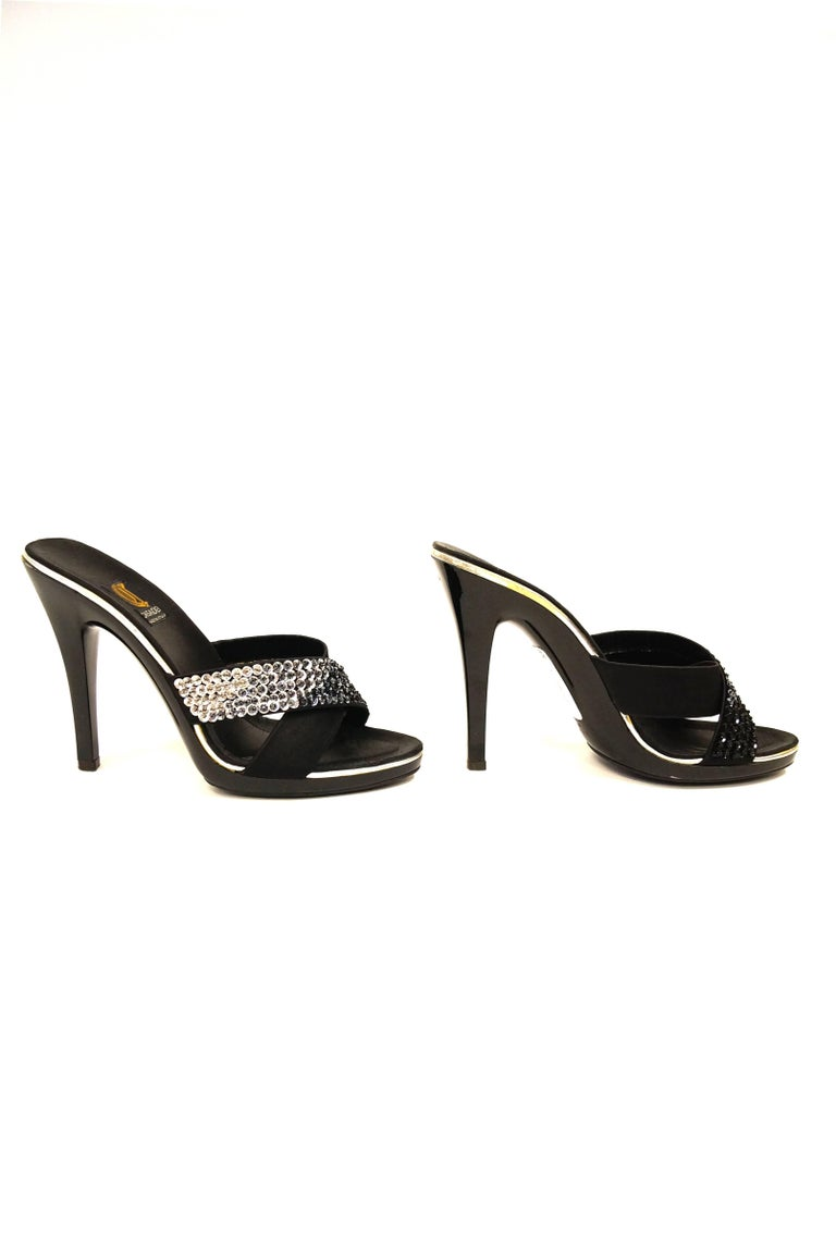 Casadei Black Satin and Sequin Strappy Sandals For Sale 1