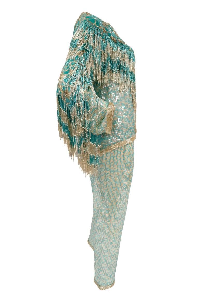 1980s Naeem Khan Silk Aqua Sequin & Beading Evening Ensemble W/ Tassel Jacket 6 For Sale 10