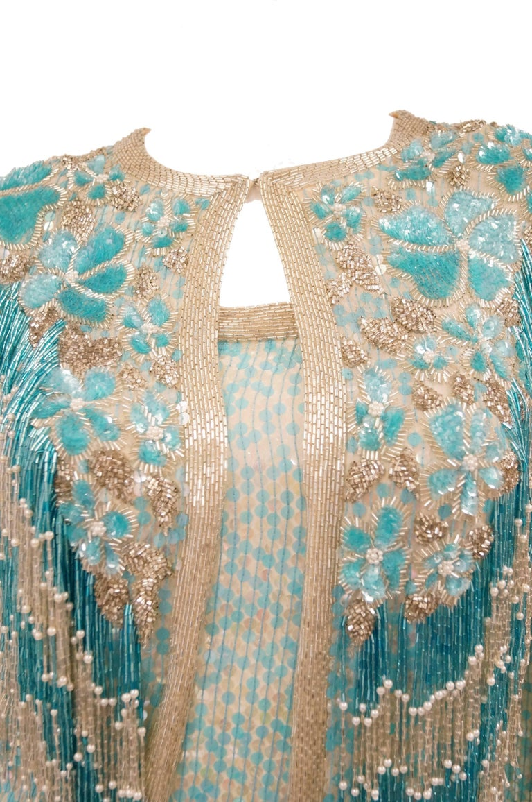 1980s Naeem Khan Silk Aqua Sequin & Beading Evening Ensemble W/ Tassel Jacket 6 For Sale 4