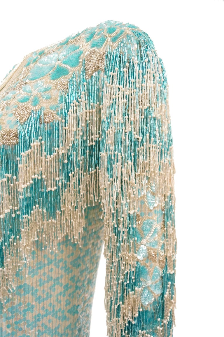 1980s Naeem Khan Silk Aqua Sequin & Beading Evening Ensemble W/ Tassel Jacket 6 For Sale 5