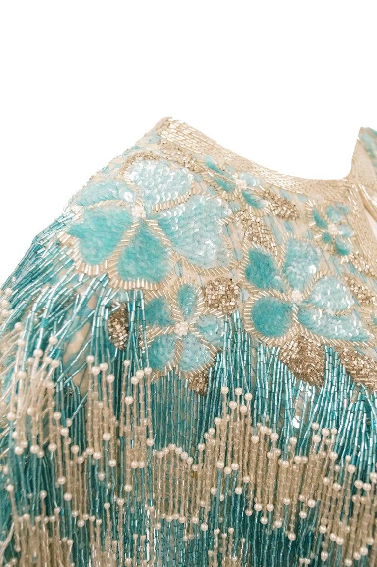 1980s Naeem Khan Silk Aqua Sequin & Beading Evening Ensemble W/ Tassel Jacket 6 For Sale 11