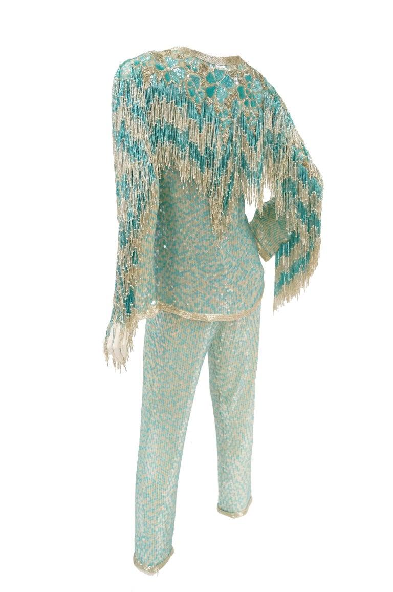 1980s Naeem Khan Silk Aqua Sequin & Beading Evening Ensemble W/ Tassel Jacket 6 For Sale 7