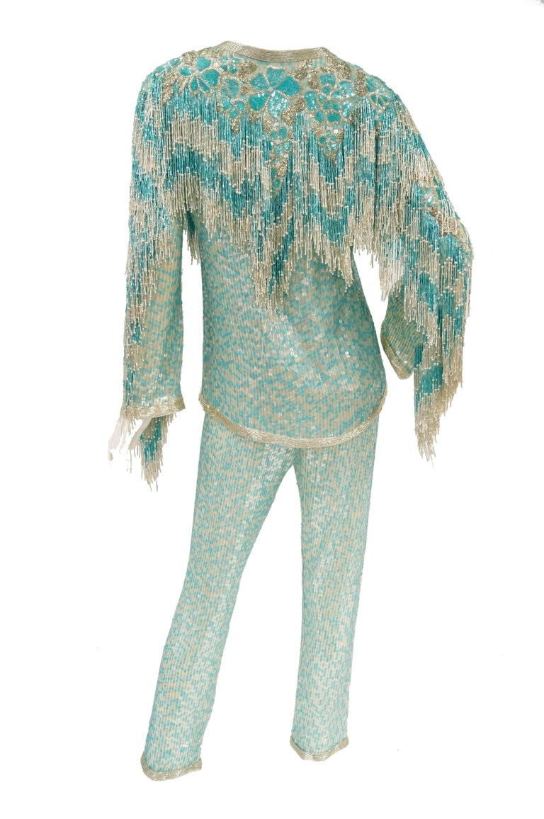 1980s Naeem Khan Silk Aqua Sequin & Beading Evening Ensemble W/ Tassel Jacket 6 For Sale 8