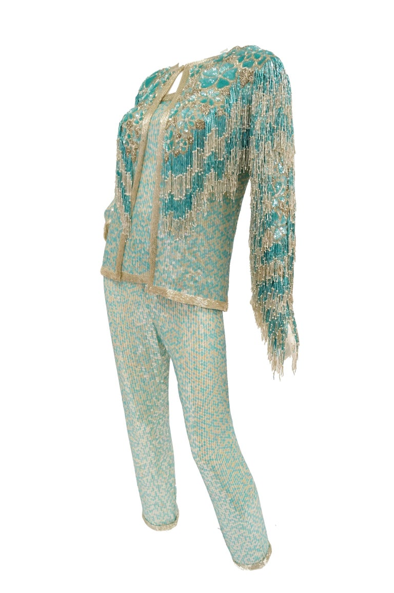 1980s Naeem Khan Silk Aqua Sequin & Beading Evening Ensemble W/ Tassel Jacket 6 In Excellent Condition For Sale In Houston, TX