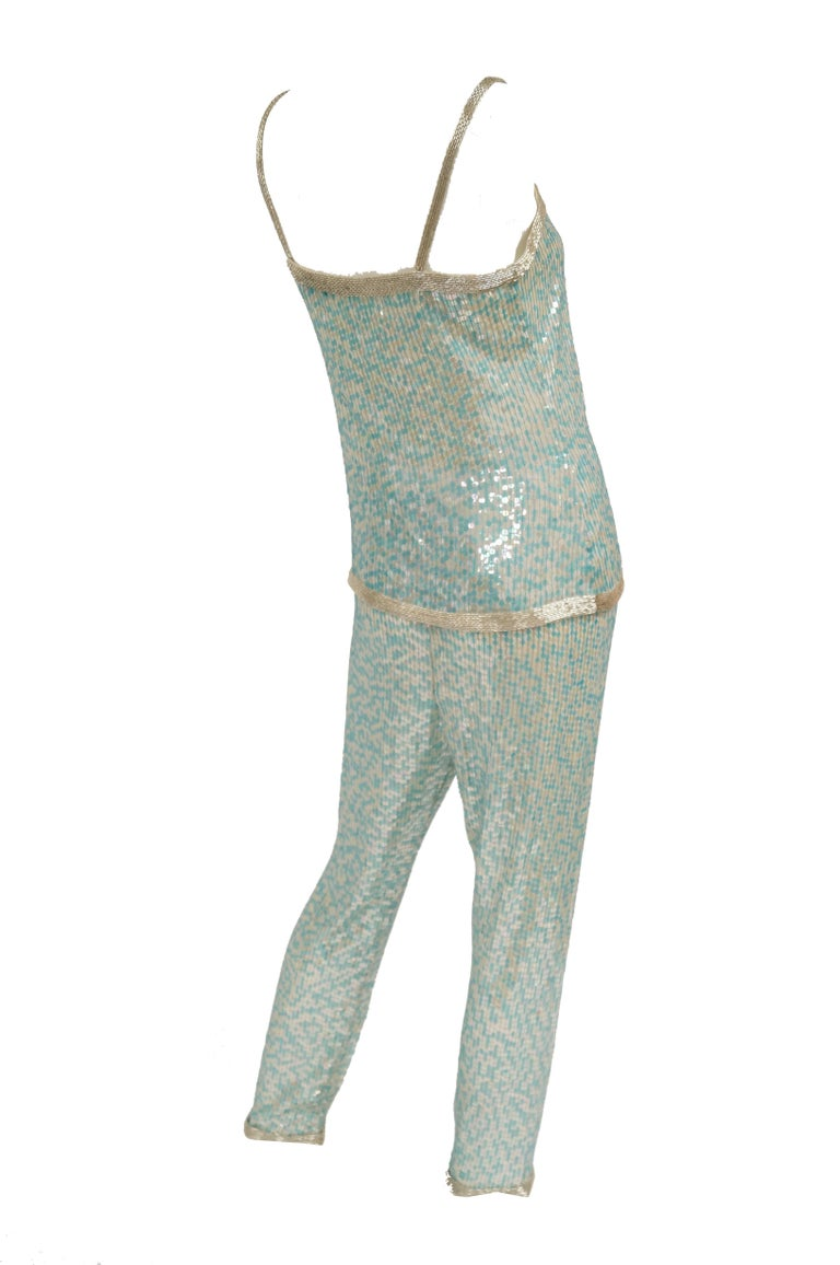 1980s Naeem Khan Silk Aqua Sequin & Beading Evening Ensemble W/ Tassel Jacket 6 For Sale 3